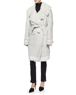 Luxe Shearling Belted Coat & Long-Sleeve Jersey Turtleneck Top