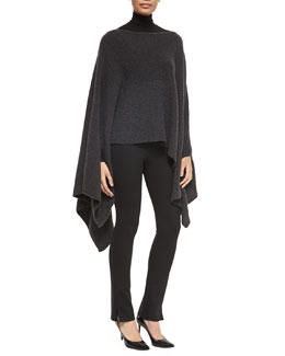 Midweight Ribbed Cashmere Poncho & Long-Sleeve Jersey Turtleneck Top