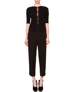 Giorgio Armani Ottoman-Knit Wavy-Inset Top & High-Waisted Pleated Slit-Cuff Pants
