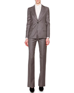 Giorgio Armani Cashmere-Blend Single-Button Long Blazer & Slight-Flared Cashmere-Blend Pants