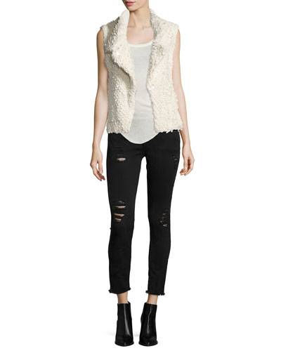 Catleen Boucle Vest, Lily Wool Tank & Jarod Distressed Denim Jeans