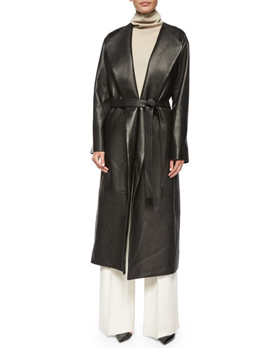 Tuggas Grained Leather Wrap Coat, Rion Sleeveless Cashmere-Blend Turtleneck Top & Appel Seamed Wide-Leg Pants