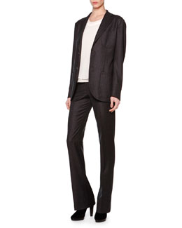 Giorgio Armani Microchevron Two-Button Blazer & Michrochevron Slightly Flared Pants
