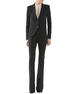 Gucci Wool Single-Breasted Blazer, Fluid Matte Satin Shirt & Wool Skinny Flare Pant
