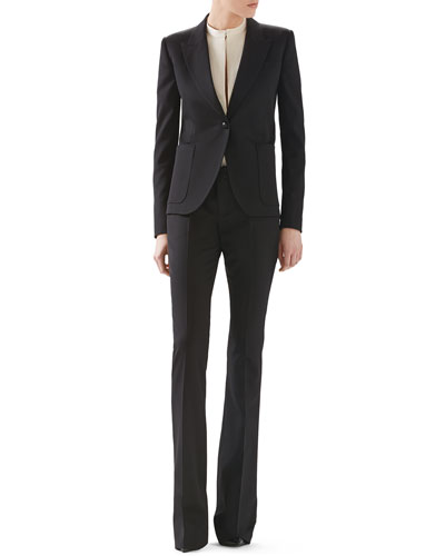 Wool Single-Breasted Blazer, Fluid Matte Satin Shirt & Wool Skinny Flare Pant