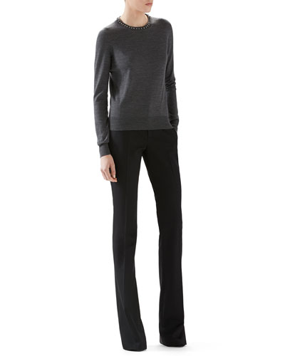 Merino Wool Sweater With Embroidery & Wool Skinny Flare Pant