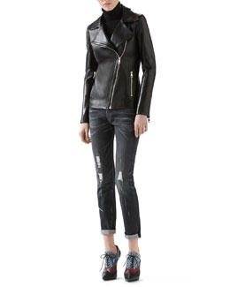 Gucci Leather And Knit Biker Jacket, Cashmere Turtleneck Sweater & Stone Washed Stretch Ripped Denim Pant