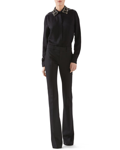 Octagonal Jacquard Satin Embroidered Shirt & Wool Skinny Flare Pant