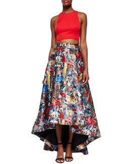 Alice + Olivia Blythe Sleeveless Crop Top & Floral-Print High-Low Skirt