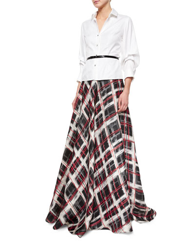 Long-Sleeve Button-Front Blouse & Plaid Satin Ball Skirt