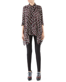 Gucci Net Print Silk Cape Shirt & Soft Stretch Cotton Legging