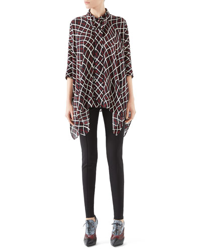 Net Print Silk Cape Shirt & Soft Stretch Cotton Legging