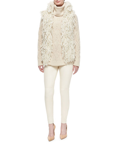 Shaggy Wool-Blend Mock-Neck Cardigan, Cashmere Cable-Knit Turtleneck Sweater & Eleanora Stretch Leather Pants