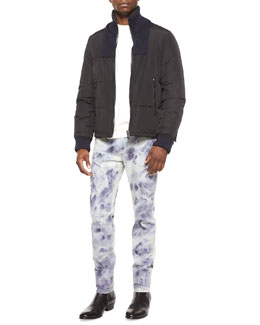 Maison Margiela Nylon Puffer Jacket with Knit-Bib, Crewneck Sweatshirt with Leather Detail & Bleached Slim-Fit Denim Jeans
