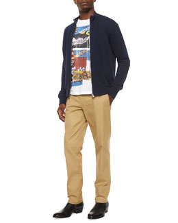 Maison Margiela Knit Zip-Up Sweatshirt with Elbow Patches, Multi-Print Graphic Crewneck Tee & Twill Straight-Leg Chino Pants