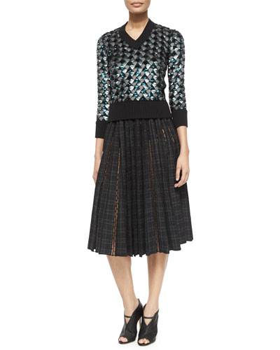 Geometric Sequined V-Neck Sweater & Plaid-Print Dotted Tulle-Inset Skirt