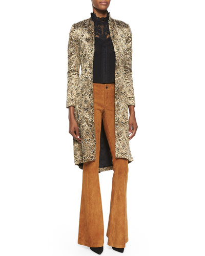 Vali Metallic Jacquard Coat, Katarina Lace/Chiffon Boxy Top & Suede Flared Pants
