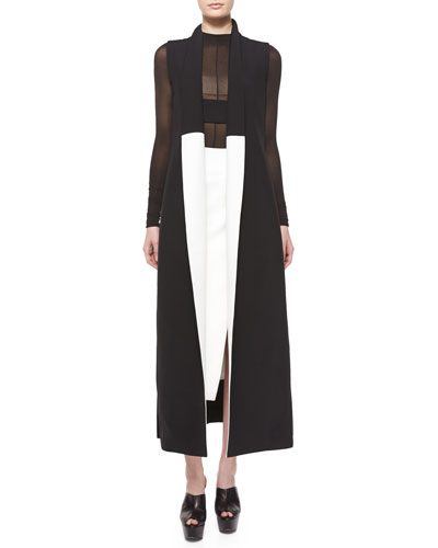 Colorblock Shawl-Collar Long Vest & Side-Slit Scuba Crepe Midi Skirt