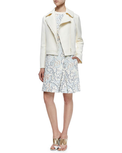 Jacquard Asymmetric-Zip Jacket & Floral-Print Fit & Flare Dress