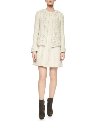Nilla Embellished Tweed Jacket & Haven Embroidered Tweed A-Line Dress