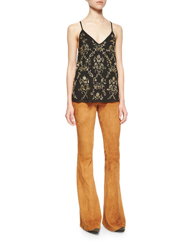 Lola Beaded Chiffon Racerback Top & Suede Flared Pants