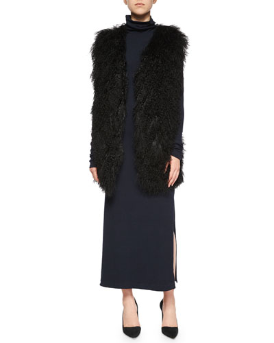 Winnifred Oversize Lamb-Fur Vest & Long-Sleeve Double-Slit Turtleneck Dress