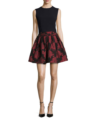 Klynn Back-Zip Tank & Stora Floral-Jacquard Pleated Skirt