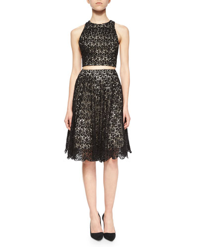 Sleeveless Lace Racerback Crop Top & Earla Pleated Lace Skirt