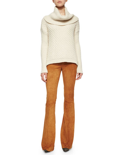 Paxton Mixed-Chunky-Knit Cowl Sweater & Suede Flared Pants