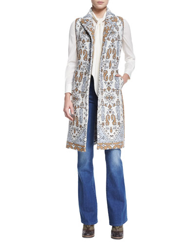 Printed Jacquard Long Vest, Tie-Neck Silk Blouse & High-Waist Flare Jeans