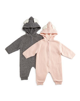 Bunny Hooded Wool-Blend Coverall, Size 6-18 Months