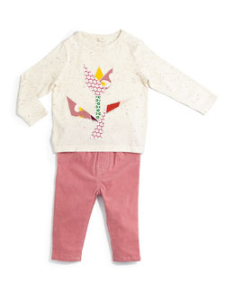 Georgie Long-Sleeve Tulip Top & Marta Stretch-Knit Corduroy Pants, Size 12-24 Months