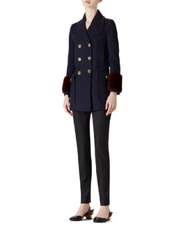 Gucci Wool-Cashmere & Mink Coat & Stretch Wool Slim Pant