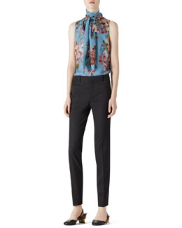 Gucci Geranium Print Silk Scarf Top & Stretch Wool Slim Pant