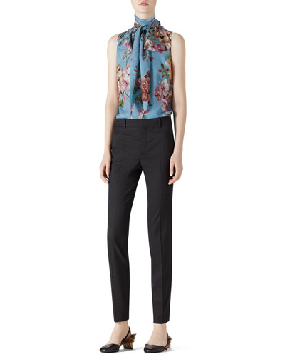 Geranium Print Silk Scarf Top & Stretch Wool Slim Pant