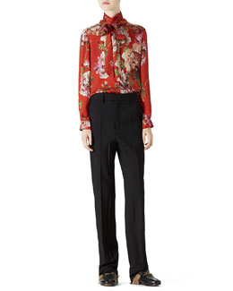 Gucci Geranium Print Silk Button-Down Shirt & Wool Menswear Pant