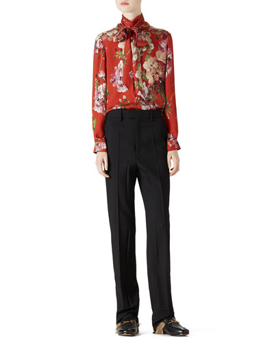 Geranium Print Silk Button-Down Shirt & Wool Menswear Pant