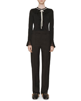 Gucci Ruffled Neck Top & Wool Menswear Pant
