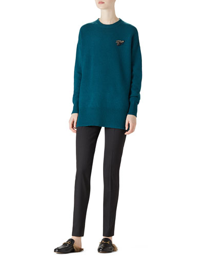 Crewneck Wool Knit Top & Stretch Wool Slim Pant