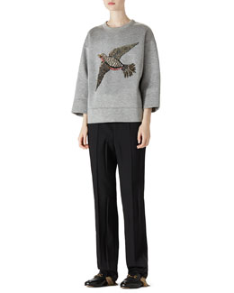 Gucci Embroidered Jersey Sweatshirt & Wool Menswear Pant