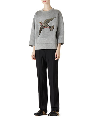 Embroidered Jersey Sweatshirt & Wool Menswear Pant