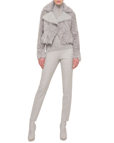 Kalgan Lamb Shearling Short Jacket, Sheer-Seam Cashmere-Blend Top & Stretch Flannel Pleated Slim Pants