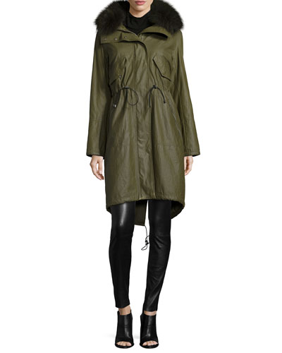 Quinton Hooded Coat, Garrison Cropped Top & Lamb Leather Leggings