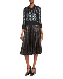 Marc Jacobs Geometric Sequined V-Neck Sweater & Grommet-Detailed Leather Midi Skirt