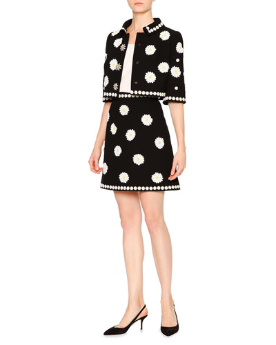 Cropped Daisy-Applique Wool-Crepe Jacket, Daisy-Trimmed Sleeveless Silk Top, Daisy-Applique Wool-Crepe Skirt