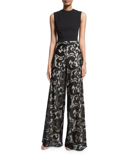 Flynn Sleeveless Ponte Back-Zip Top & Floral-Lace Super-Flare Pants