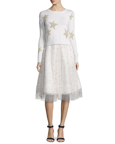 Erran Metallic-Star Pullover Sweater & Catrina Embellished A-Line Skirt