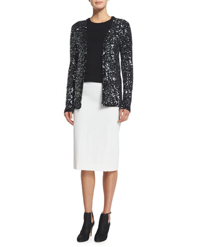Allover-Sequined Cardigan Sweater & Stretch-Gabardine Pencil Skirt