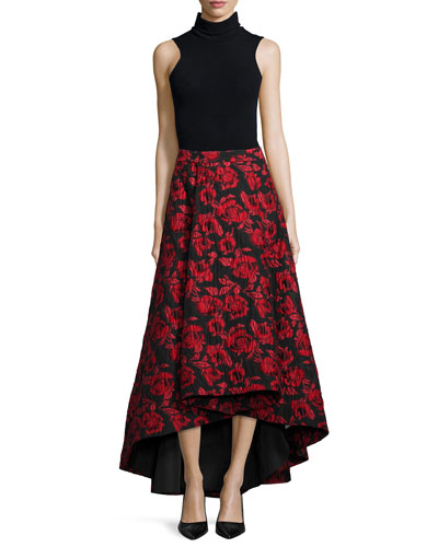 Sleeveless Fitted Turtleneck & Floral Brocade Tea-Length Skirt