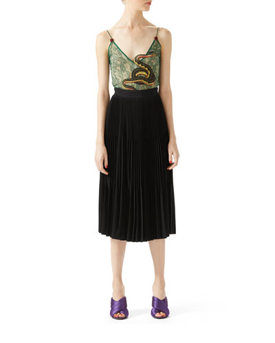 Leaf Lace Embroidered Top & Silk Crepe Pleated Skirt